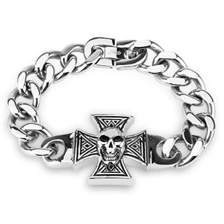 Bracelet homme acier à croix de malte avec crane