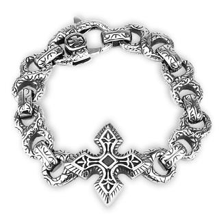 Bracelet homme acier à maillons scuptés et croix celtique