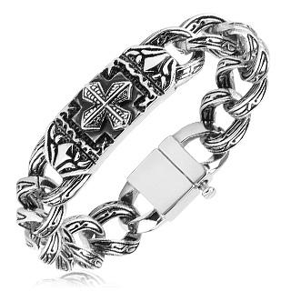 Bracelet homme acier à plaque et maillons à gravures celtiques