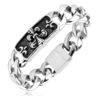 Bracelet homme acier à plaque noire gravée et fleur de lys