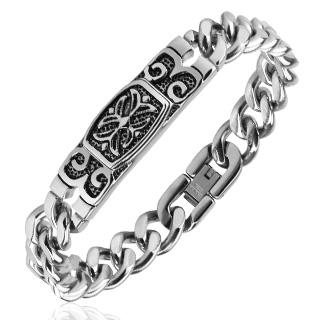 Bracelet homme acier à plaque vieillie gravée et croix celtique