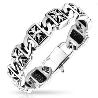 Bracelet homme acier à plaquettes avec croix en relief