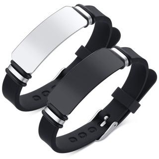 Bracelet homme caoutchouc à plaque d'acier