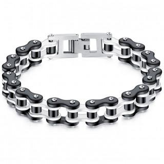 Bracelet homme chaine mécanique acier - Noir et gris