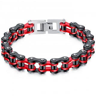 Bracelet homme chaine mécanique acier - Rouge et Noir