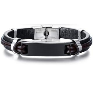 Bracelet homme cuir noir et marron à plaque acier noire