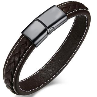 Bracelet homme cuir surpiqué et tressé à attache acier noire