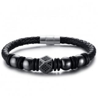 Bracelet homme en cuir tressé noir à perles