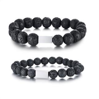 Bracelet homme en perles de lave noires