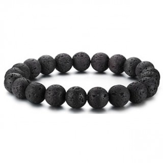 Bracelet homme en perles de lave noires à creux