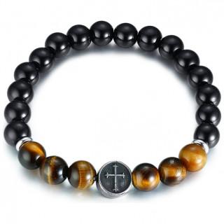 Bracelet homme en perles noires et Oeil de Tigre à croix
