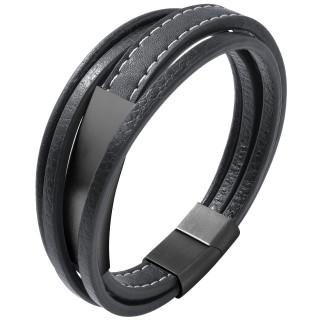 Bracelet homme fines bandes similicuir à plaque d'acier poli