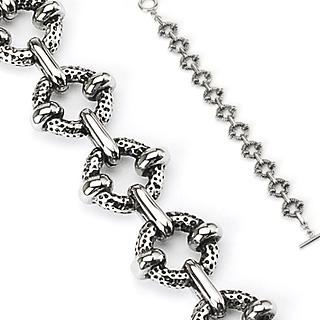 Bracelet homme gothique à anneaux texturés