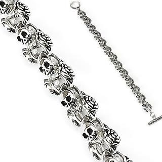 achat bracelet homme gothique perles t te de mort pas cher. Black Bedroom Furniture Sets. Home Design Ideas