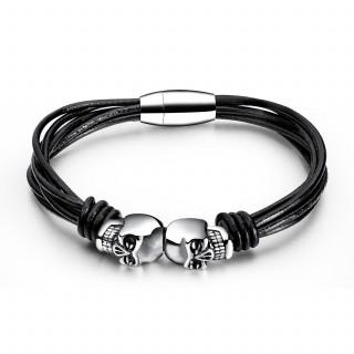 Bracelet homme à lanières de cuir et cranes
