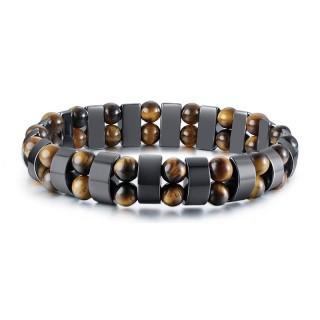 Bracelet homme à perles oeil de tigre et segments hématite
