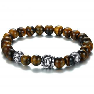 Bracelet homme perles d'oeil de tigre à tête de lion