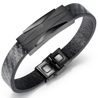Bracelet homme à plaque d'acier style futuriste noire