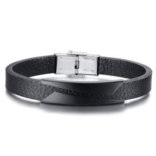 Bracelet homme ruban cuir à plaque noir triangles