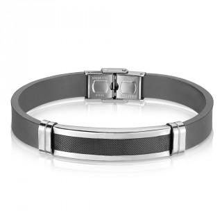 Bracelet homme silicone à plaque d'acier avec grille noire