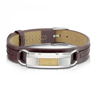 Bracelet homme similicuir marron à barrette et filins d'acier