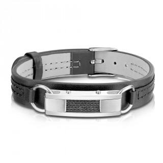 Bracelet homme similicuir noir à barrette et filins d'acier