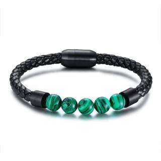 Bracelet homme similicuir tressé noir à perles de Malachite