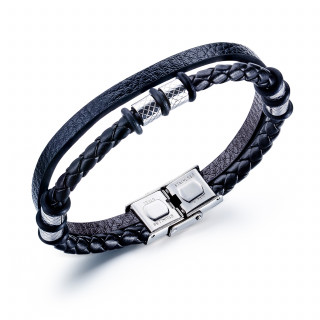 Bracelet homme tresse et bande similicuir à cylindres rayés