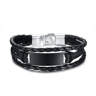 Bracelet homme à tresses de cuir et plaque métal noire