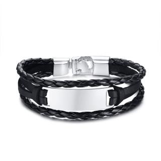Bracelet homme à tresses de cuir noir et plaque métal grise