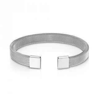 Bracelet inox semi-rigide à mailles d'acier