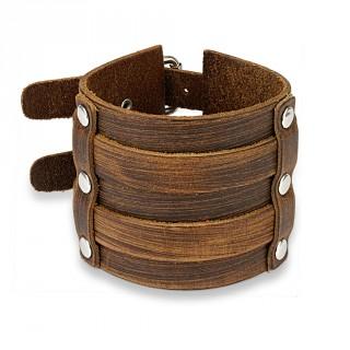 Bracelet large en cuir marron aspect usé riveté à double ceinture