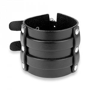 Bracelet large en cuir noir riveté à double ceinture