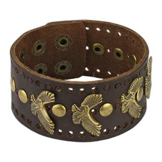 Bracelet marron en cuir perforé avec aigles et rivets