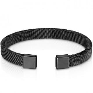 Bracelet noir semi-rigide à mailles d'acier