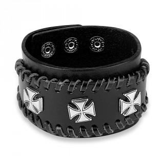 Bracelet similicuir noir traversé de lacets avec trio de croix de Malte