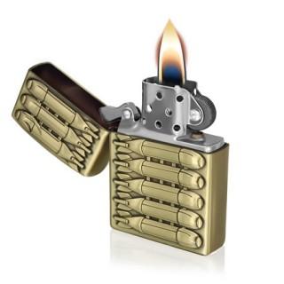 Briquet tempête en métal cuivré avec bombes en relief