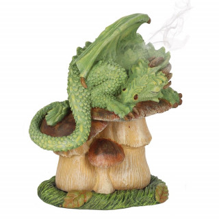 Brûleur à cônes d'encens Dragon vert sur champignon - Anne Stokes