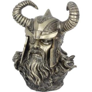 Buste de dieu Odin en résine peinte à la main (21,5cm)