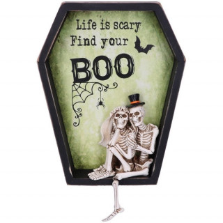 """Cadre déco mural cercueil """"Life is Scary Find Your Boo"""""""