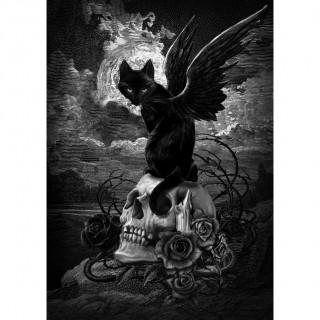 Carte postale Effets 3D à chat noir ailé sur crane - Alchemy
