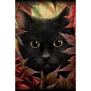 Carte postale Effets 3D à chat noir et feuilles d'automne - Linda Jones