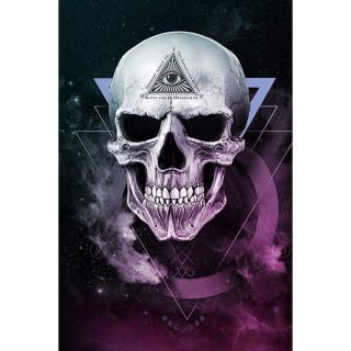 Carte postale Effets 3D à crane illuminati - Alchemy