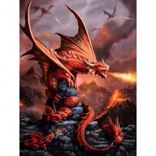 Carte postale Effets 3D à dragon rouge protégeant ses petits - Anne Stokes