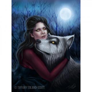 Carte postale Effets 3D à femme au loup - Tiffany Toland-Scott