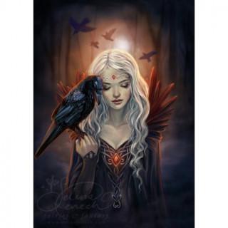 Carte postale Effets 3D à femme et corbeau - Selina Fenech