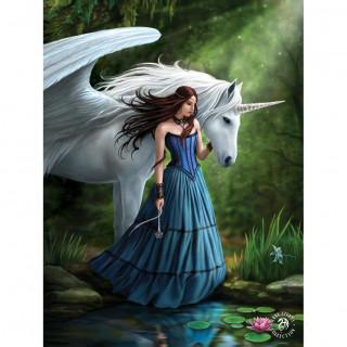 """Carte postale Effets 3D à femme et licorne """"Enchanted Pool"""" - Anne Stokes"""