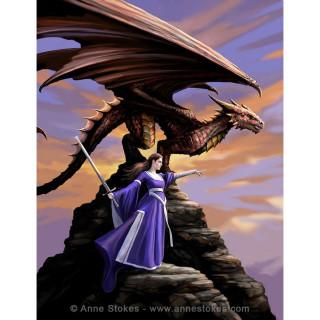 Carte postale Effets 3D à femme sentinelle et dragon - Anne Stokes