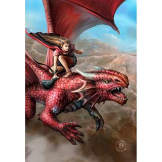 Carte postale Effets 3D à femme volante sur un dragon rouge - Anne Stokes