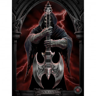 "Carte postale Effets 3D à guitariste infernal ""Rock god"" - Anne Stokes"